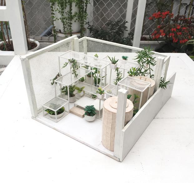 estructura para plantas en el pabellon de los origenes