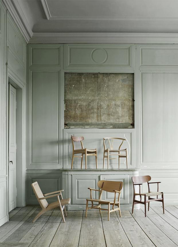 sillas icono diseños de Hans J. Wegner para la firma Carl Hansen & Son