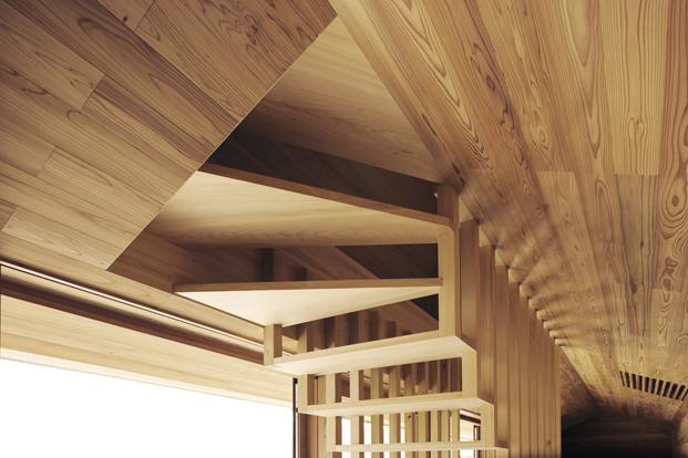 esclaera interior de Yoshino Cedar House casas airbnb en diariodesign