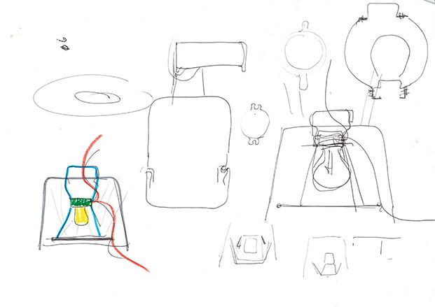 esbozo de lampara mia de Michel Charlot para Kettal diariodesign