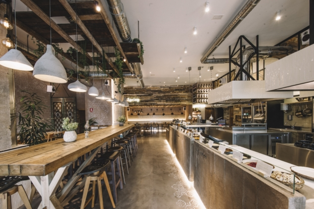 iluminacion en restaurante honest green