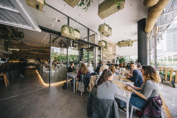 macetas colgantes en el honest green restaurante ecologico en madrid