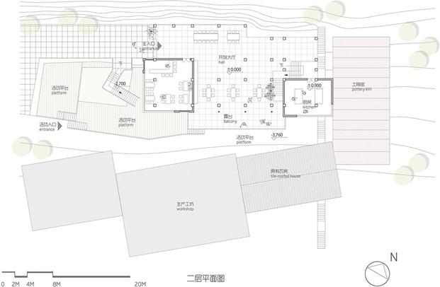 plano primera planta huxi pottery kiln tian qi  restaurante de ladrillo