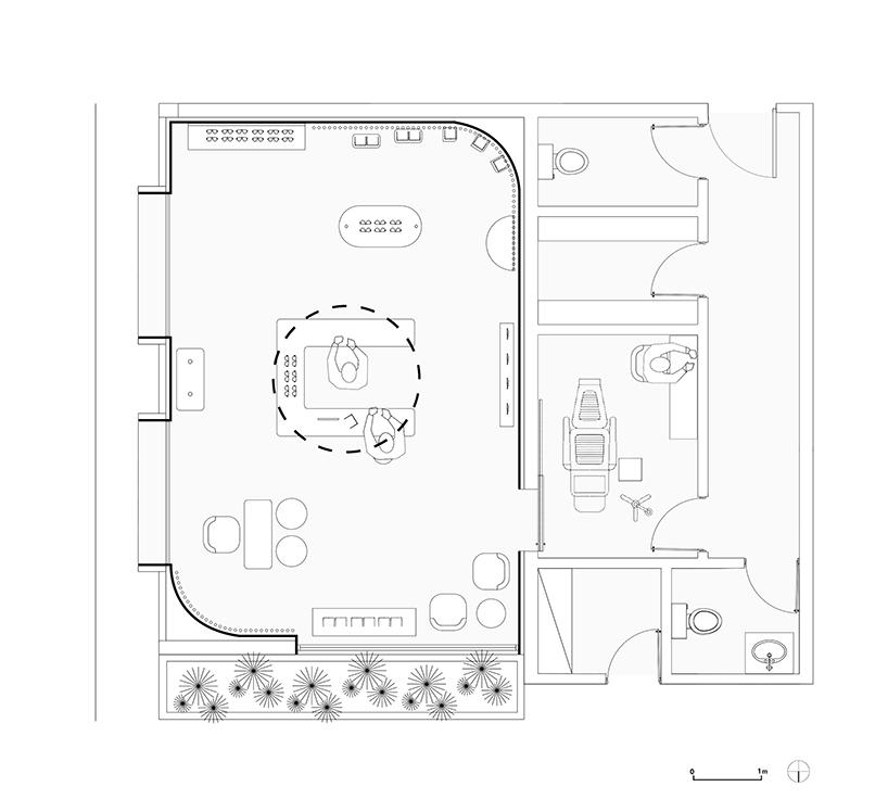 plano de tienda de gafas okio en guatemala de arquitectos taller kent