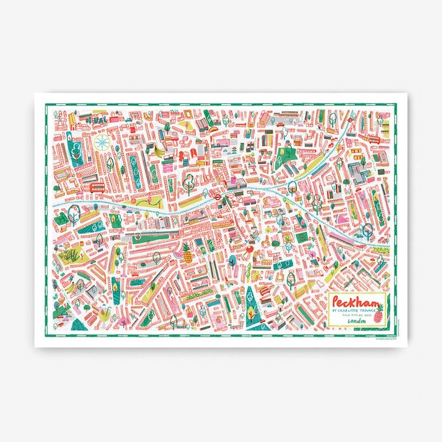 Mapas de Peckham en londres ilustracion de Charlotte Trounce en diariodesign