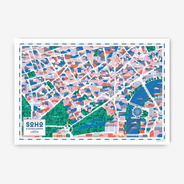 mapas del Soho Covent Garden en londres Ilustraciones de Daniel Clarke