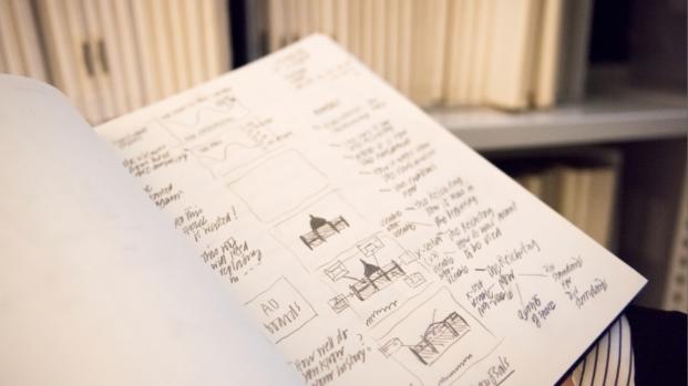 dibujos y documentos en la sede de norman foster foundation en madrid