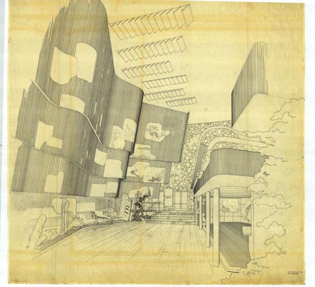 Boceto de Alvar Aalto para el Pabellón de Finlandia en el Victoria and Albert Museum