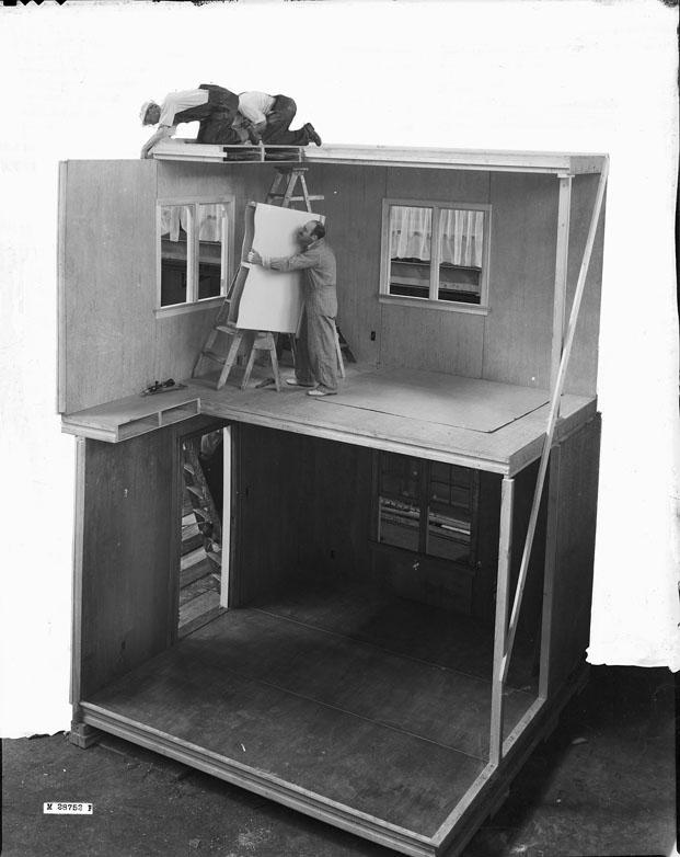 Maqueta de muestra,construcción prefabricada en el Victoria and Albert Museum