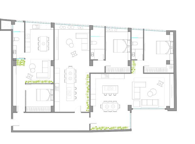 plano casa de diseno en Poblenou en tres actos Egue y Seta diariodesign