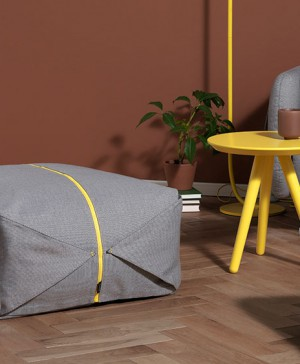 pouf ori gris y amarillo para zaozuo de yonoh design diariodesign