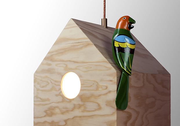 lampara de madera NiuLamp en restaurante mes vilar diariodesign