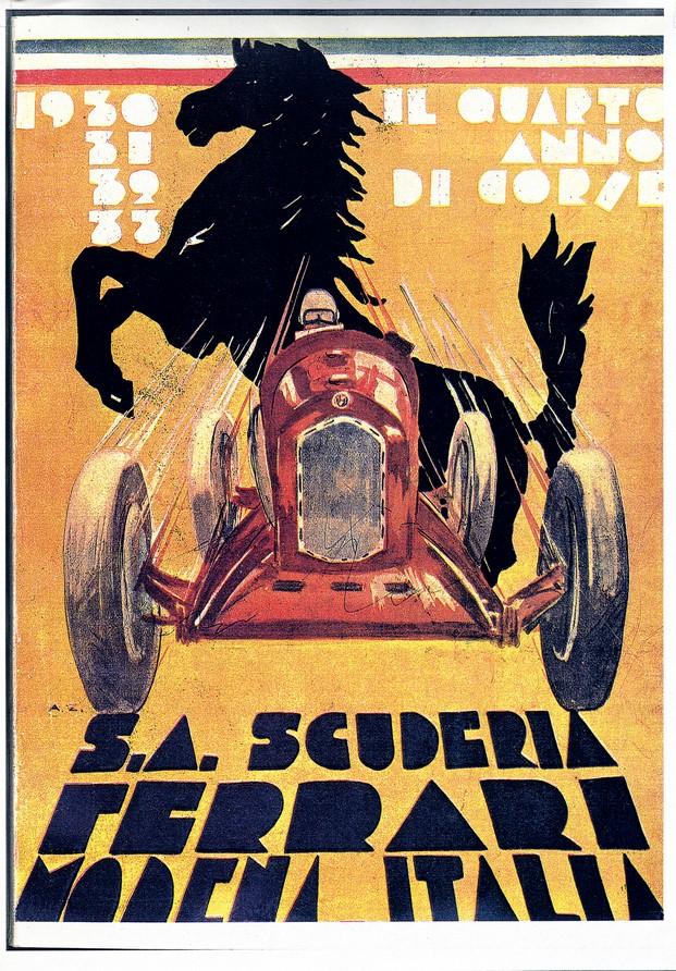cartel de ferrari exposicion de siete decadas en el design museum diariodesign