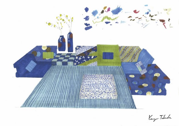 ilustracion coleccion mah jong takada aires japoneses en roche bobois diariodesign