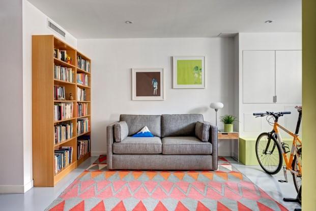 salon de una casa para unos artistas y sus gatos en Brooklyn diariodesign