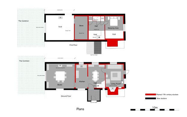 planos croft lodge studio ruina habitada Kate darby david connor diariodesign