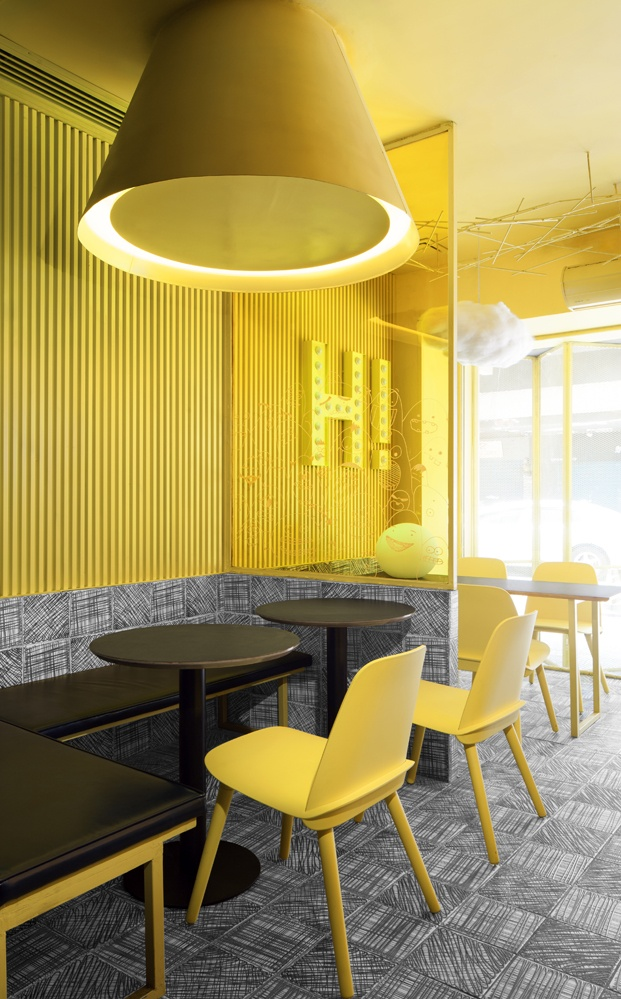 tienda de té hi pop construction union decoracion amarilla diariodesign