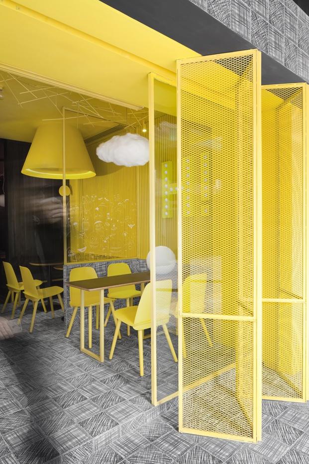 tienda de té hi pop construction union color amarillo diariodesign
