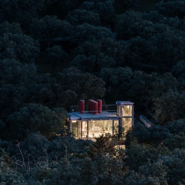 casa de cristal penelas pabellon escondido diariodesign noche