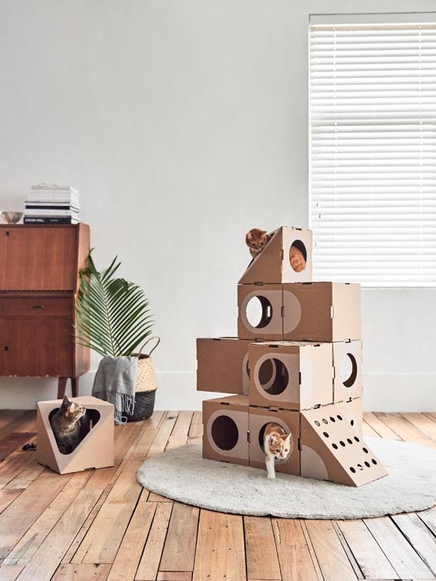A Cat Thing una ciudad sostenible y un juguete para gatos diariodesign cajas carton