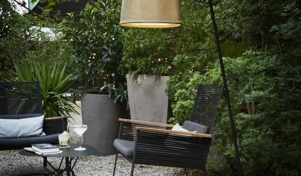 jaima de Marset lampara de exterior con textilene collection ambiente diariodesign