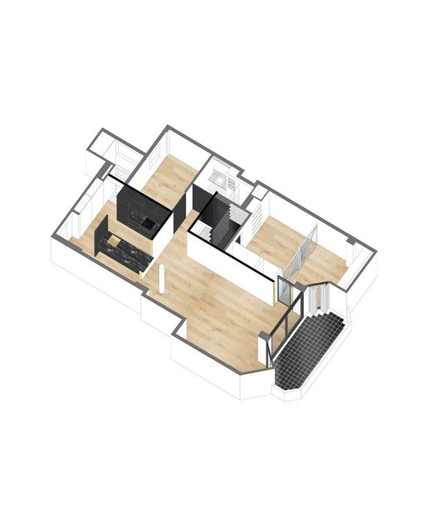 plano apartamento blanco y negro sardenya diariodesign