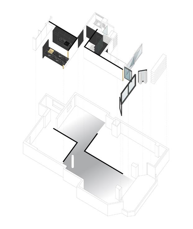 vista axonométrica apartamento blanco y negro sardenya diariodesign
