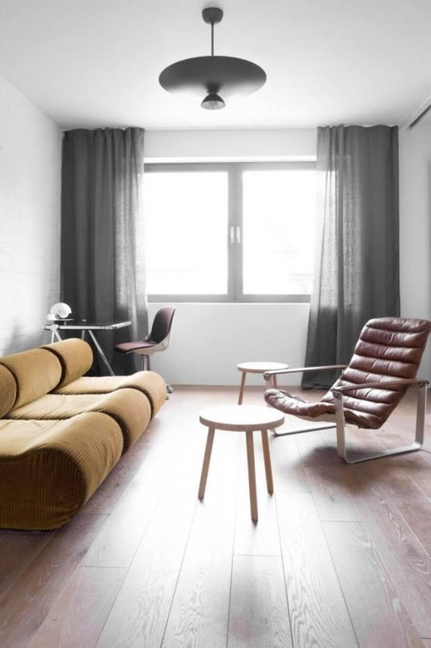 sofá y sillón apartamento de estilo vintage en Szczecin diariodesign