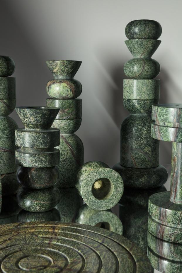 candelabros mármol verde Tom Dixon diariodesign