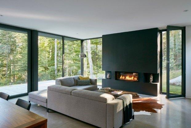 cabaña moderna en un lago del quebec hecha por paul bernier salon diariodesign