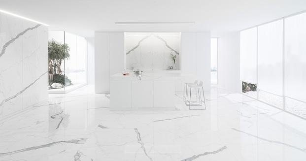 mármol porcelánico blanco interior contract