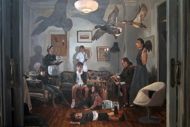 cuadro pintura con patos volando y niño en el suelo barcelona gallery weekend diariodesign
