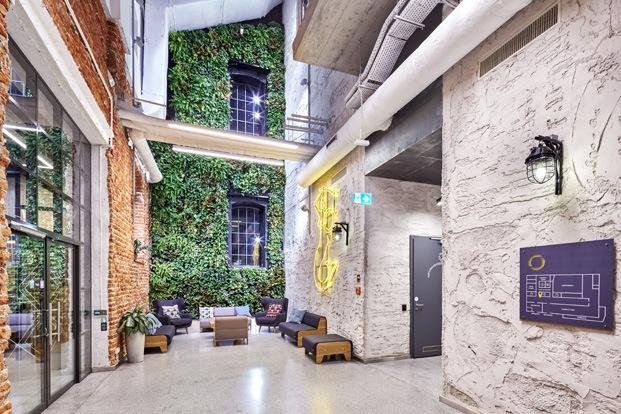campus google varsovia ladrillo visto y jardín vertical
