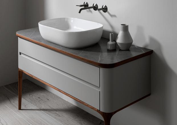 Mueble de baño vintage y lavabo redondo Lignage Noken Porcelanosa diariodesign