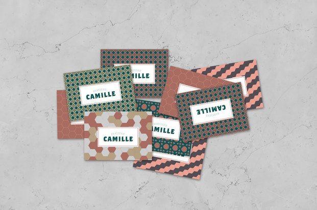 Tarjetas de visita restaurante retro art decó diseño gráfico branding Brasserie Camille diariodesign