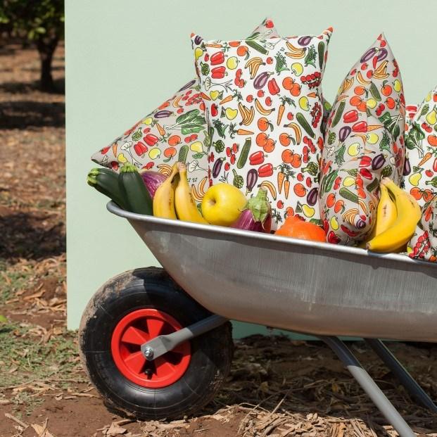 cojines estampados frutas en carretilla javier mariscal drt diariodesign