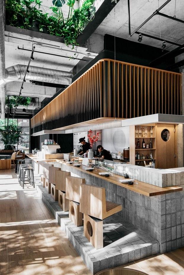 paneles translúcidos para separar la cocina de la barra restaurante sushi montreal