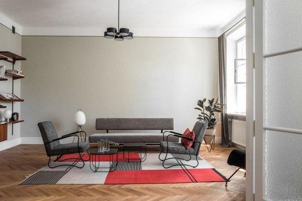 salón de diseño europeo en un loft de Varsovia