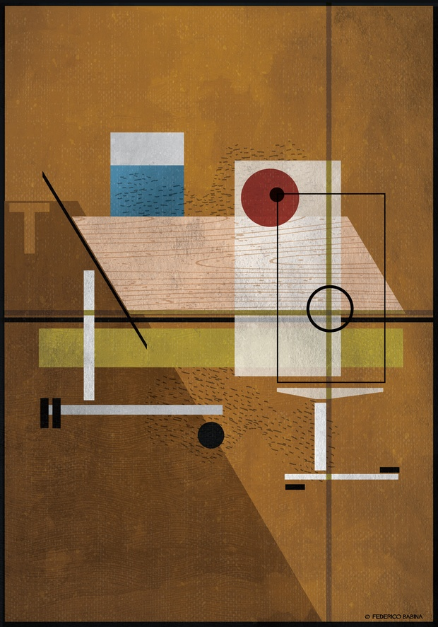 Ilustracion geometrica de oficina Federico Babina Actiu diariodesign