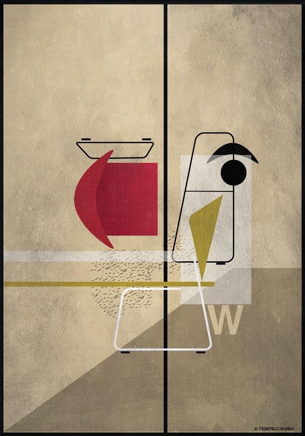 Ilustración plano picado silla abstracta roja Federico Babina Actiu diariodesign