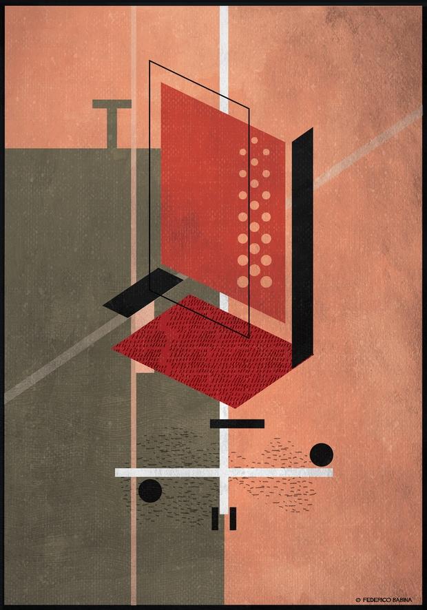 Ilustracion abstracta de silla de oficina roja con ruedas Federico Babina diariodesign
