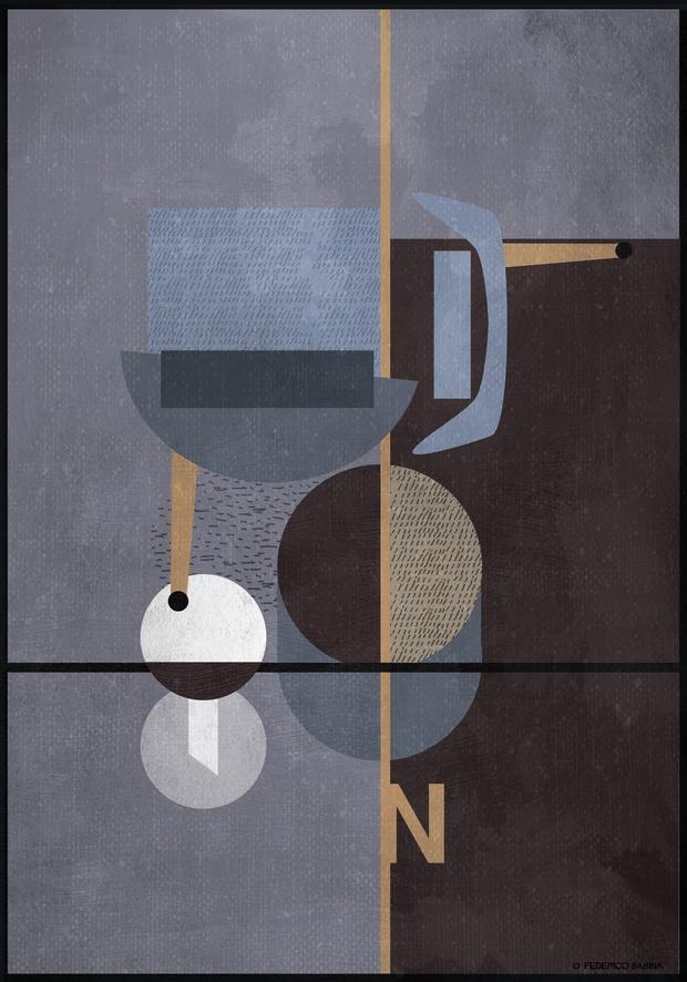 Ilustracion abstracta geométrica picada de butaca en color azul Federico Babina Actiu diariodesign