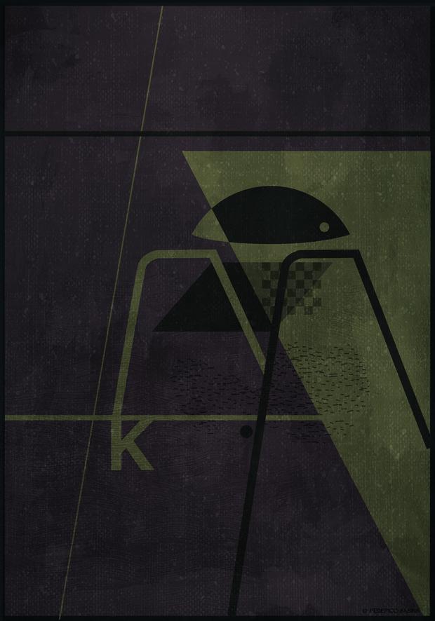 Ilustración de silla abstracta color negro Federico Babina Actiu diariodesign
