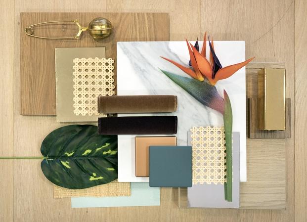 moodboard inspiración materiales madera flor cerámica blanca