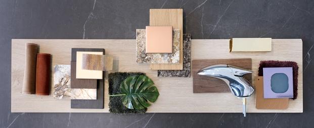 moodboard inspiración materiales madera grifo terciopelo tapicería