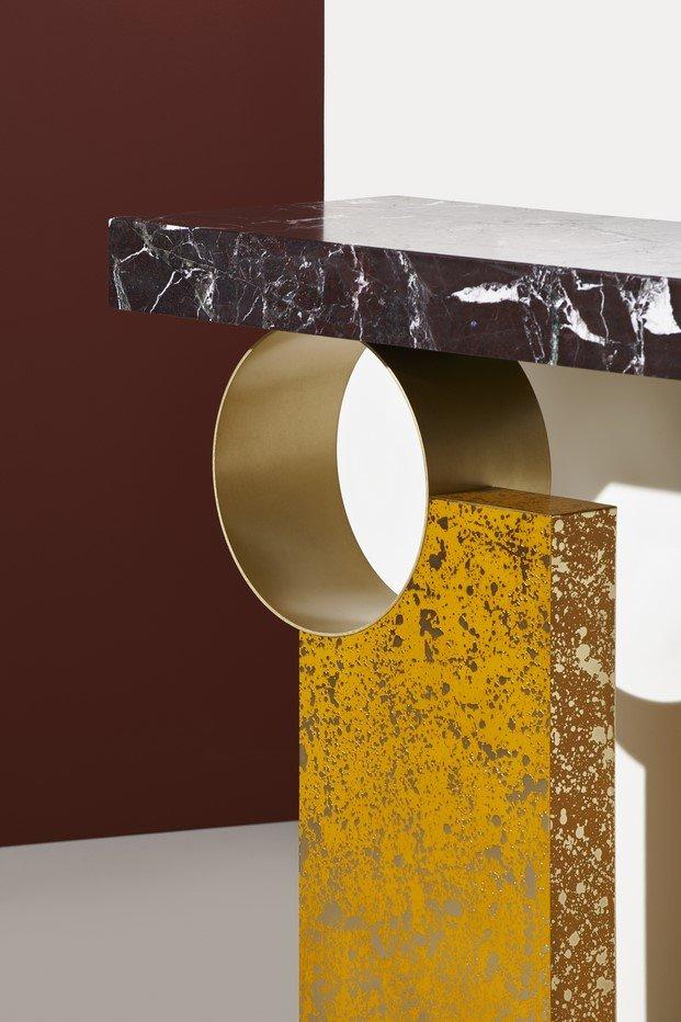console de rodolphe parente mármol y dorado
