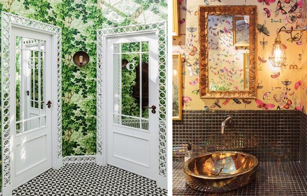Baño con papel pintado de mariposas y plantas diariodesign