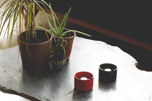 mesa de piedar con plantas cactus y dos ceniceros rojo y negro copenhagen andre ricard diariodesign