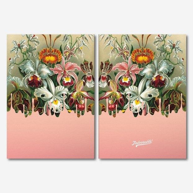 Libreta cuaderno con dibujo de flores vintage