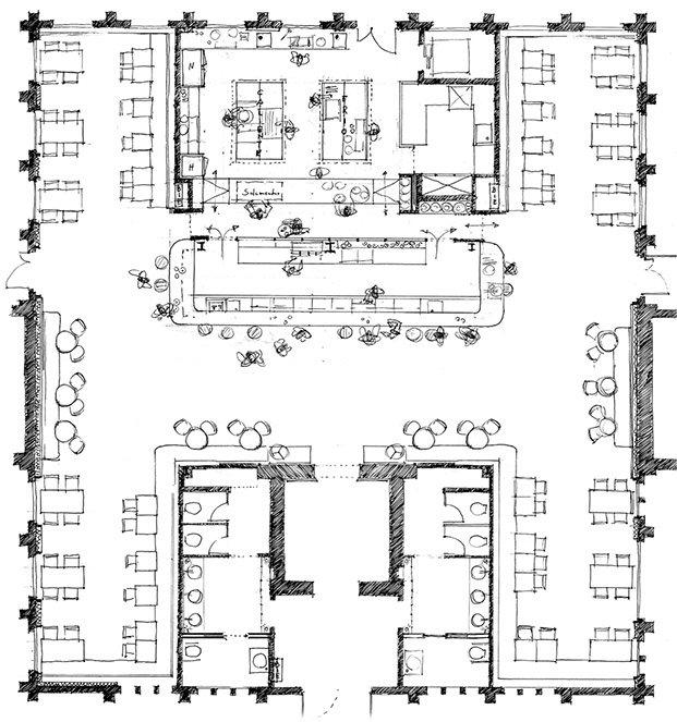plano de distribución del restaurante de caixaforum turull sorensen diariodesign